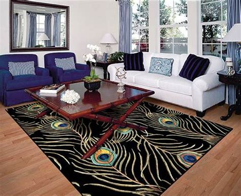 decorative rugs for living room beautiful peacock area rug blue and white sofa living room