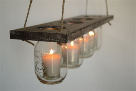 DIY Indoor Rustic Hanging Mason Jar Candle Holders