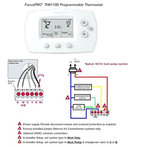 honeywell pro 3000 thermostat wiring diagram honeywell