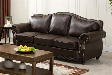 leather sofa with wood trim linden traditional brown bonded leather sofa loveseat
