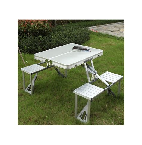 aluminium folding table and chair set outdoor aluminum folding table set foldable desk 4 chairs