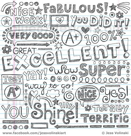 doodle words excellent words of praise sketchy notebook d