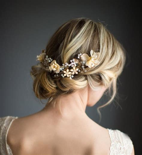 Wedding Guest Hair With Flowers by Boho Gold Halo Hair Wrap Gold Hair Wreath Silver