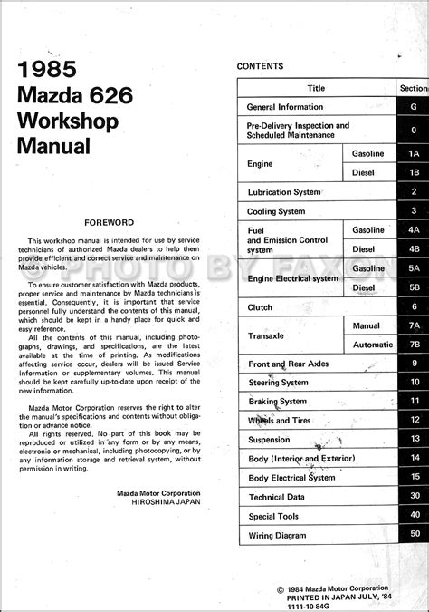 1985 mazda 626 repair shop manual original
