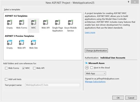 templates for asp net projects new asp net features and fixes in visual studio 2015 rc