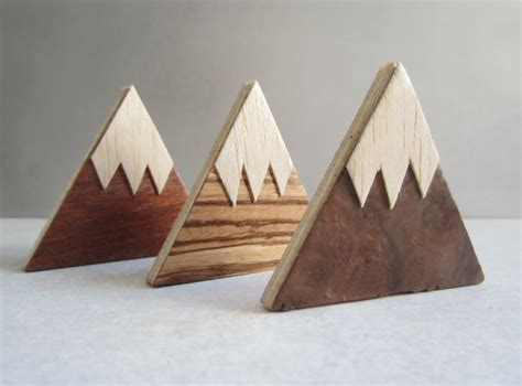 Handmade Wooden - magnet mountains handmade wood fridge magnets set of 3
