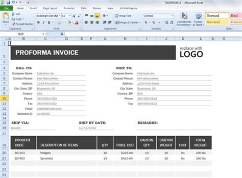 proforma invoice template for excel 2013 powerpoint