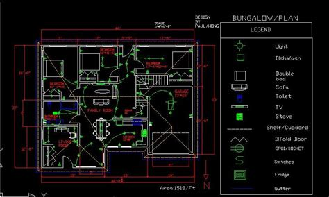 Typical House Floor Plan Dimensions bungalow design with autocad paulhong1