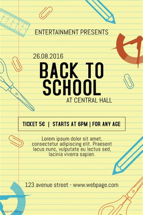 back to school poster template back to school event notebook style flyer template