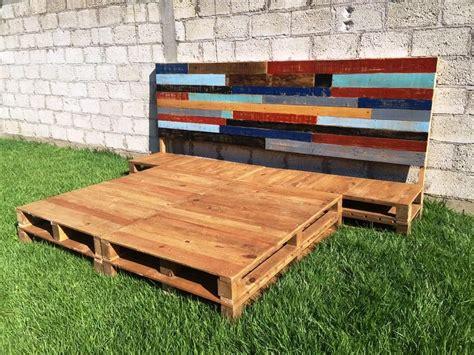 pallet bed platform diy pallet bed frame with headboard pinterest pallet