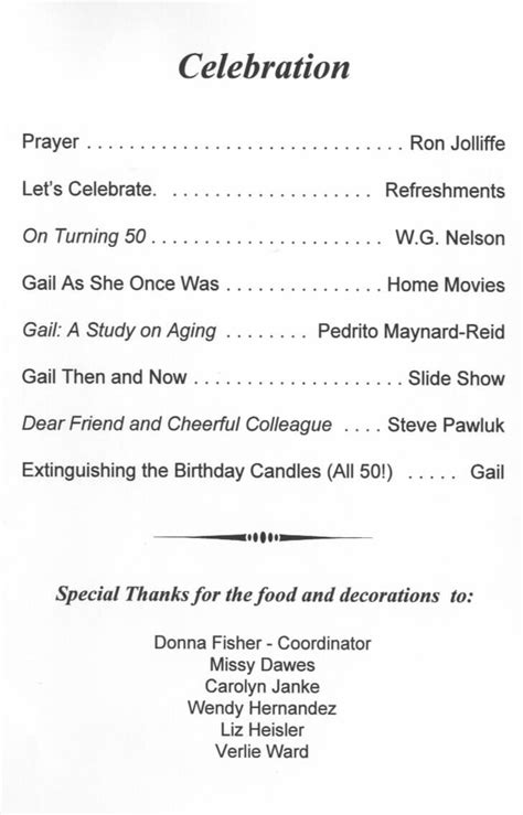50th birthday program template best photos of for birthday dinner program sle