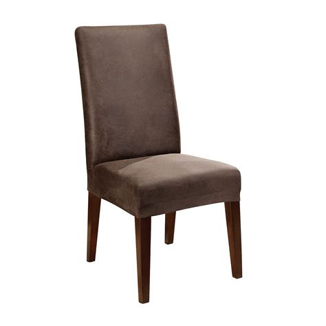 sure fit stretch leather dining chair cover brown