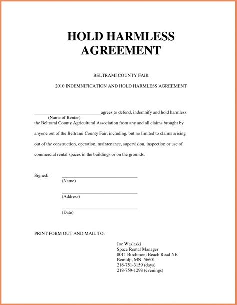 Simple Hold Harmless Agreement Template Equine Hold Harmless Agreement Template