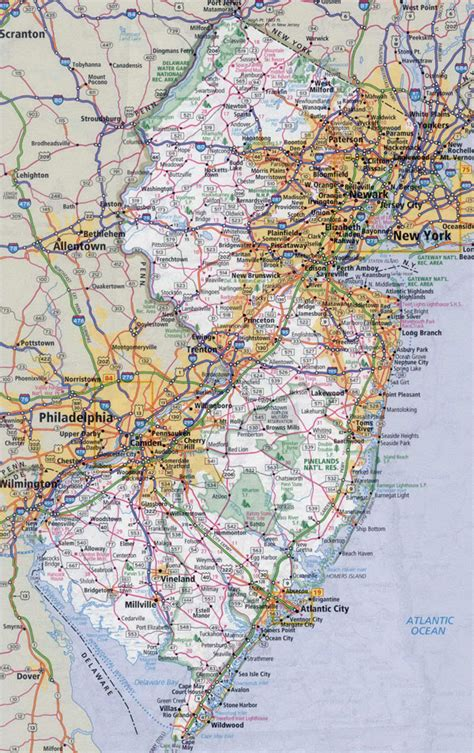 map nj large detailed roads and highways map of new jersey state with all cities vidiani maps