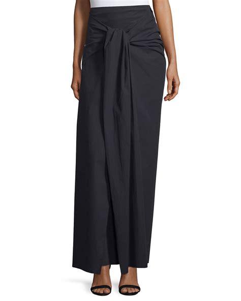joseph silvie tie front poplin maxi skirt in black save