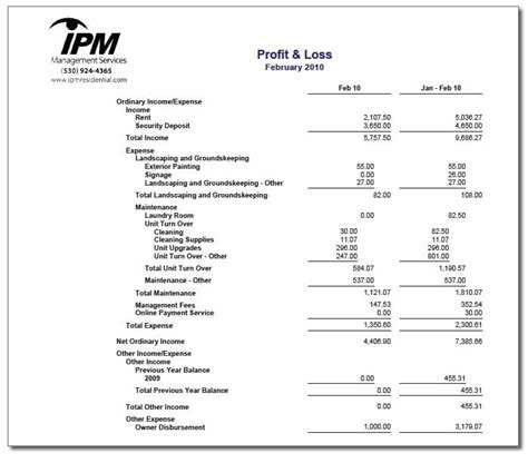 year to date profit and loss statement free template income