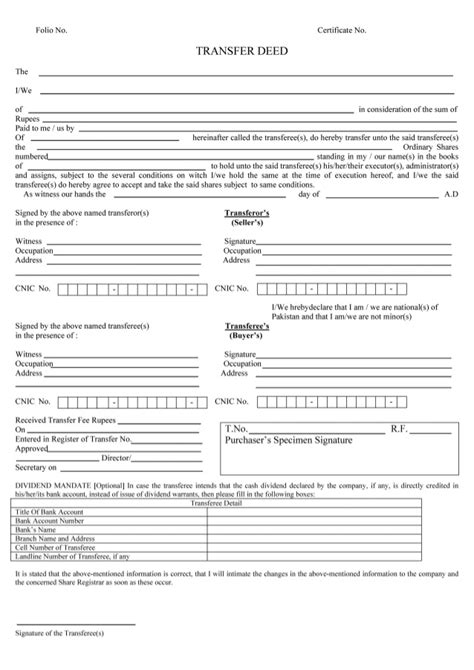 Shares Transfer Deed Form Karim Virani Assignment Of Shares Template