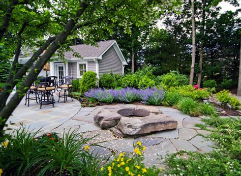 Rustic Backyard by Outdoor Fireplace Pit Design Installation Northern Nj