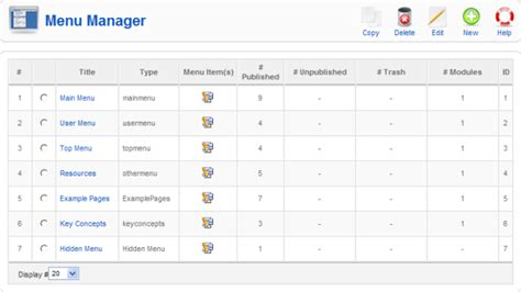 layout manager and menus help15 screen menumanager 15 joomla documentation