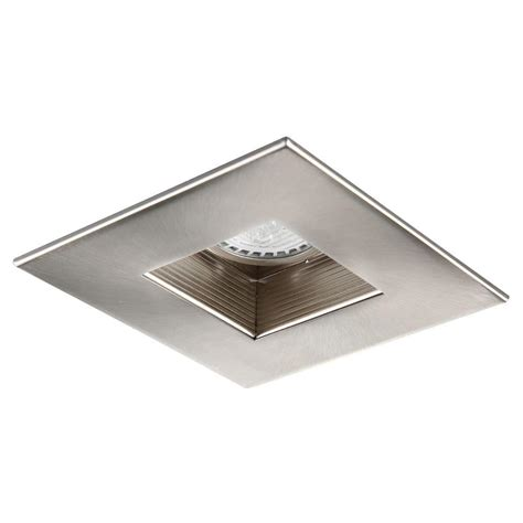 1000 images about lighting bathroom on drywall squares and bathroom modern lighting 4 in brushed nickel recessed square baffle trim r4 590bn the home depot