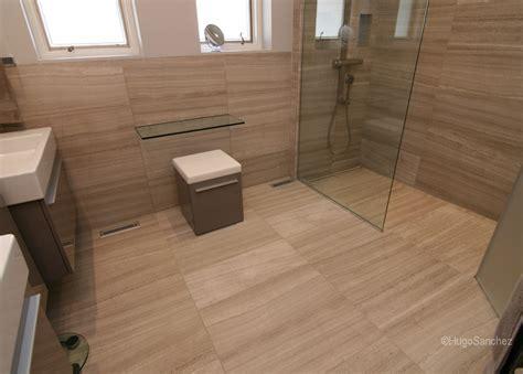 curbless limestone shower c233ramiques hugo sanchez inc