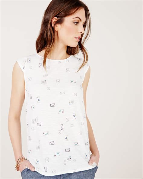 Cap Sleeve Print Shirt cap sleeve t shirt with envelope print rw co