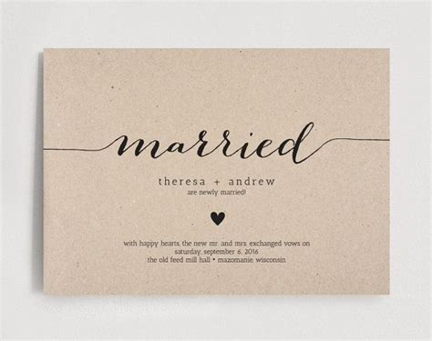 Wedding Announcement Cards by Just Married Wedding Announcement Marriage Announcement