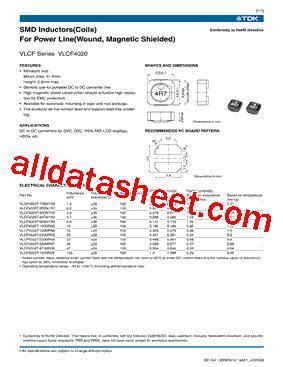 tdk capacitors datasheet vlcf4020t 2r2n1r7 datasheet pdf tdk electronics