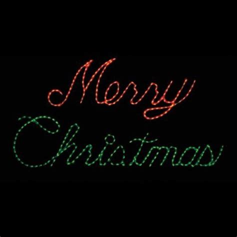 32 in outdoor led red and green merry christmas sign