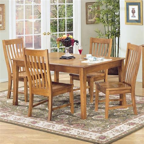 dining bench with wood seat by intercon wolf 5 piece rectangular dining table and side chair set by