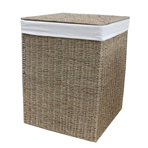 Seagrass Square Laundry Basket Lined Seagrass Laundry