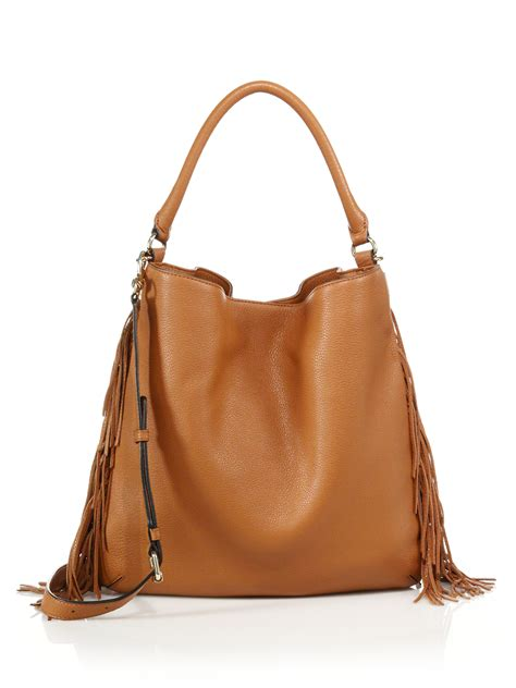 Clark Leather Hobo minkoff clark fringed leather hobo bag in brown lyst