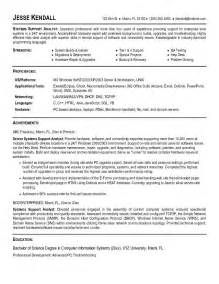 exle systems support analyst resume sle