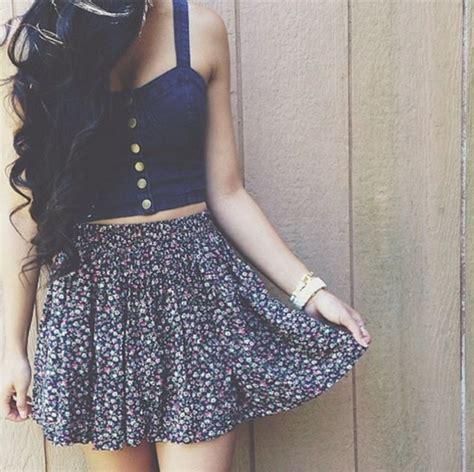 Lnice Flower Top Skirt shirt denim skirt flowers top dress tank top navy