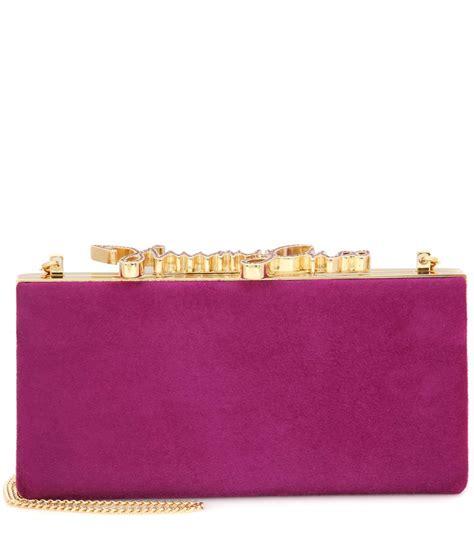 Jimmy Choo Kaaren Clutch by Jimmy Choo Celeste Embellished Suede Clutch Purple