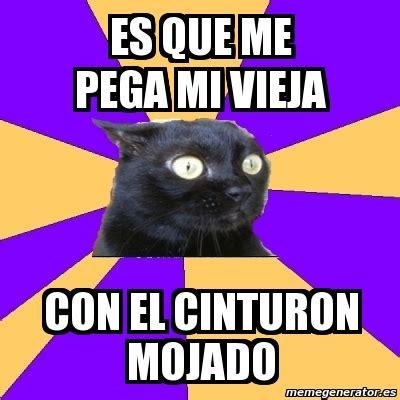 Anxiety Cat Meme Generator - meme anxiety cat es que me pega mi vieja con el cinturon