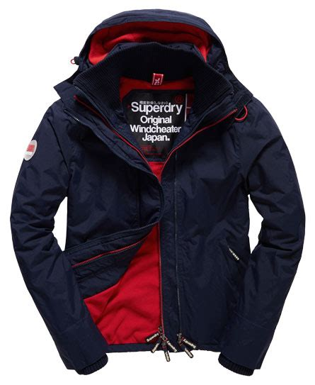 Jaket Windcheater City 1 mens pop zip hooded arctic windcheater jacket in nautical navy rebel superdry