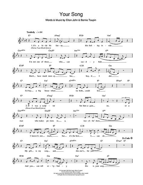 melody lyrics your song chords by elton melody line lyrics