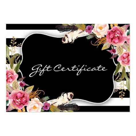 Shabby Chic Gift Card Template by Profile Card Hair Salon Gift Certificate