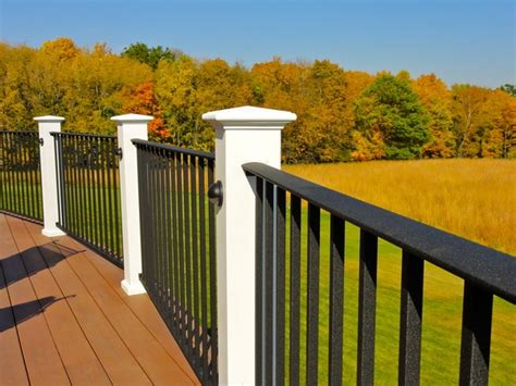 White Deck Railing With Black Balusters White And Black Deck Railing For The Home