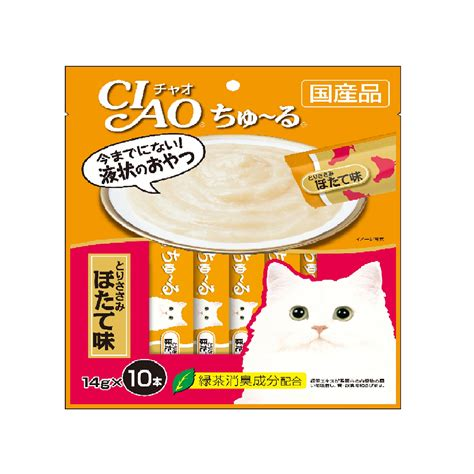 Cat Treats Ciao Chu Ru White Tuna Scallop 14g X 4 Pcs Sc 77 ciao chu ru chicken fillet scallop flavor 10x14g loving pets