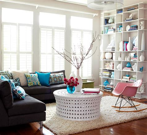 modern grey living room with pops of green happy wife create contrast by adding a pop of color to a white d 233 cor