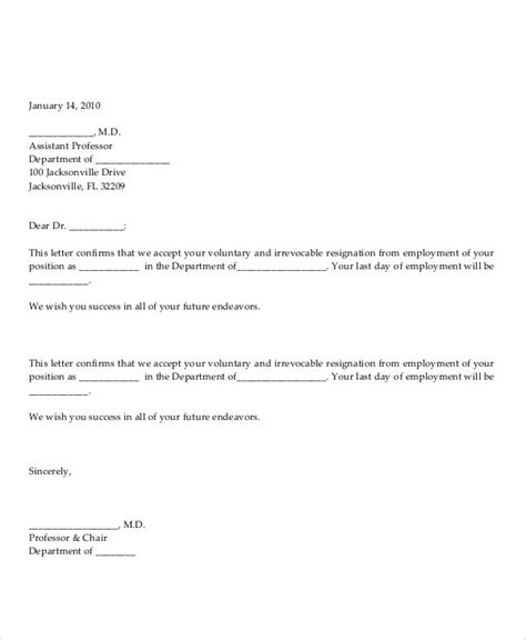 Acceptance Of Voluntary Resignation Letter Volunteer Resignation Letter Template 6 Free Word Pdf Format Free Premium Templates