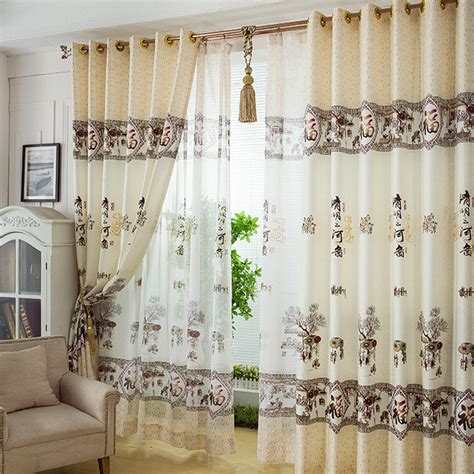 chinese curtains decorative chinese style landscape pattern beige polyester