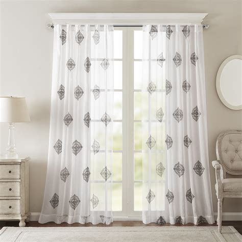 embroidered window curtains bombay massa embroidered sheer window curtain ebay