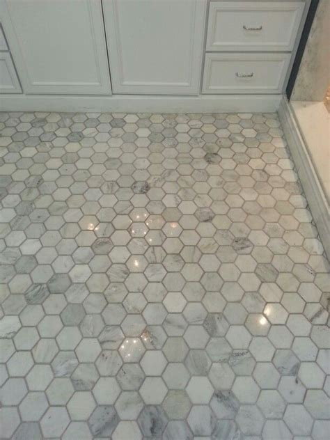 "The tile shop Hampton carrara 3"" hex   Bathroom Renovation"
