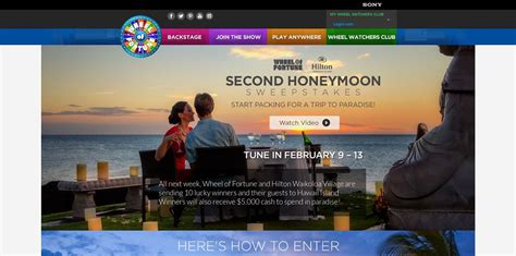Wheel Of Fortune Sweepstakes Giveaway - wheel of fortune 2nd honeymoon sweepstakes tune in february 9 13