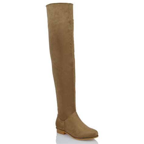 suede knee high flat boots womens the knee high flat faux suede