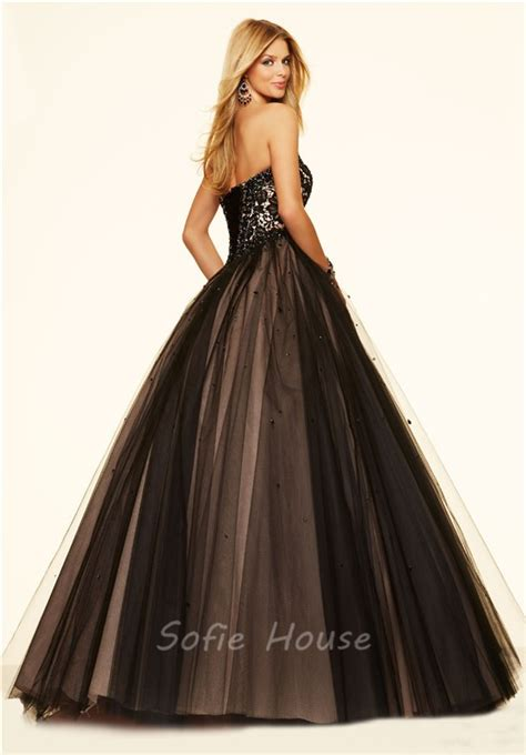 black prom dresses corset puffy ball gown strapless corset black tulle lace beaded
