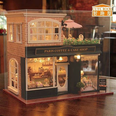 miniture doll house new kits diy wooden dollhouse miniature doll house cover music paris coffee shop ebay